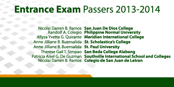 Entrance Exam Passers of Bloomfield Academy 2013-2014